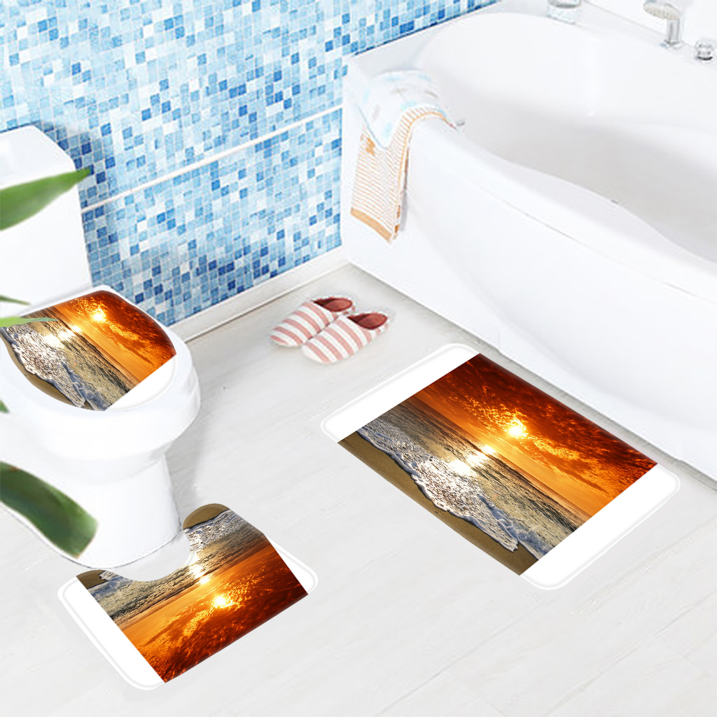 3pcs bathroom mat set beach orange sunset bath mat anti slip rugs for bathroom toilet mat bathroom products