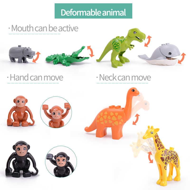 Legoing duploed 動物シリーズビッグビルディング猫犬ライオンと虎象おもちゃで子供パーティーギフト