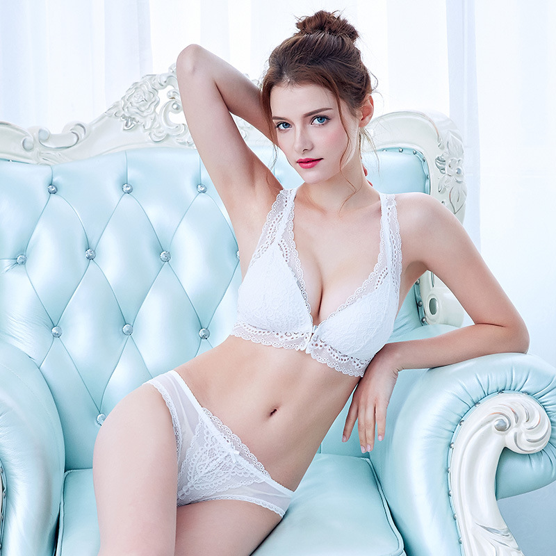 f7318169ab08c Full Lace Vrouwen Ondergoed Beugel Push Up Bh Set Top comfortabele Vrouwen  Lingerie Sexy Kant Slipje Voorsluiting Bh Sets B158 in Full Lace Vrouwen ...