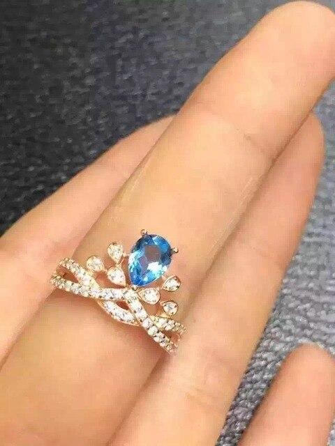 Естественный голубой топаз gem Кольцо Природных драгоценных камней кольцо S925 стерлингового серебра модные Элегантный Симпатичные Корона девушки женщин партии Ювелирных Изделий