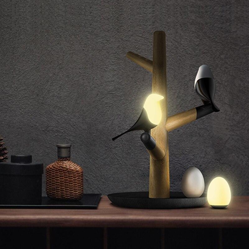 Nordic Resina Uccello Lampada di Notte Della Lampada Soggiorno Ristorante Camera Da Letto Comodino lampada di Illuminazione USB Luci notturne moderna Apparecchi Di animali Decorazione - 5