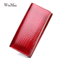Luxury Brand Genuine Leather Women Long 3 Fold Draw Out Wallet Embossed Design Clutch Purse Patent
