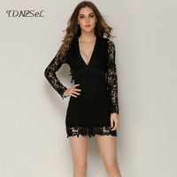 Women Sexy Lace Long Sleeve Sheath Dress Deep V Backless Bow Hollow Out Black Pink Elegant