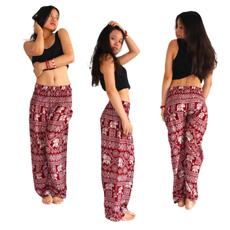 c1ebfc45fd4d79 Women's Elephant Design Loose Fit Yoga Harem Style Pants Palazzo Pants  Thailand Nepal Travel Free Shipping
