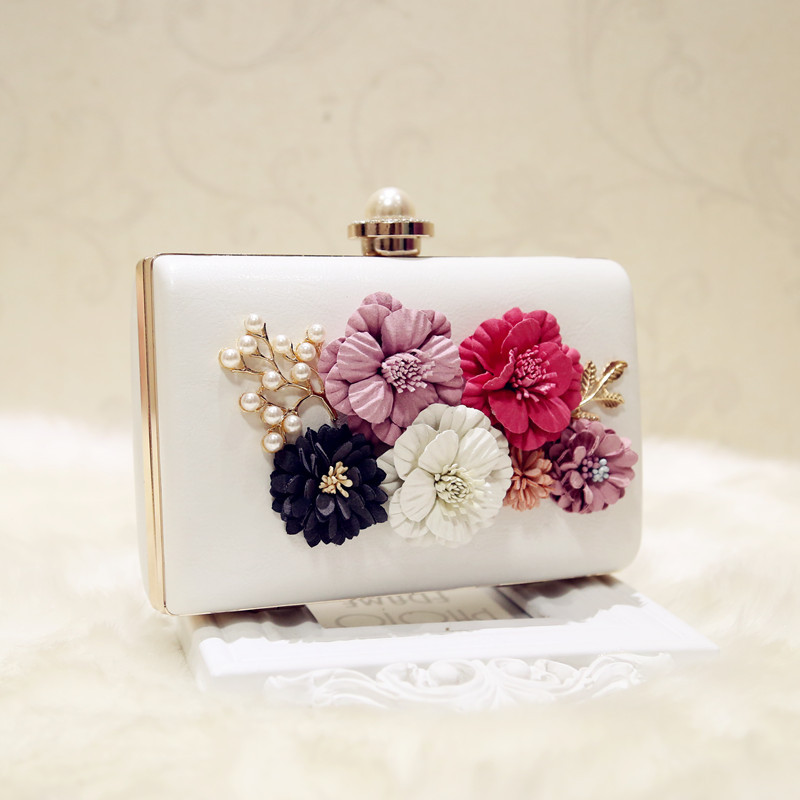 Luxury Bag Evening Bags Wedding Party Pearl Flower Chain Shoulder Bride Handbag Crossbody Hard Box Clutch Bolsa Feminina YHB107 2017 new mini shoulder messenger bag famous brand luxury elegant bead evening bag clutch pearl handbag bride bags for wedding