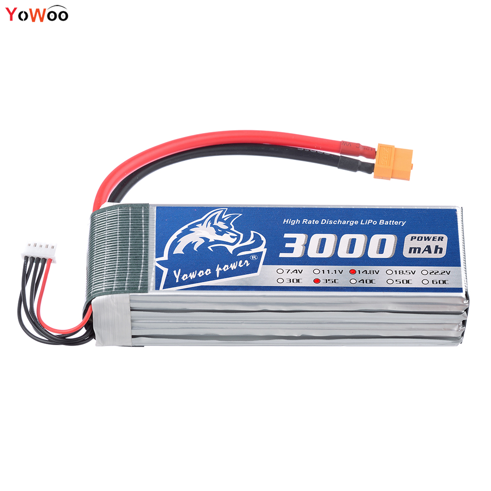 YOWOO Lipo 4s Battery 14.8V 3000mAh 35C Max 70C RC Bateria Drone AKKU For Car Boat Quadcopter Helicopter Airplane xxl high power 3300mah 14 8v 4s 35c max 70c 4s1p akku lipo rc battery for trex 500 helicopter page 8