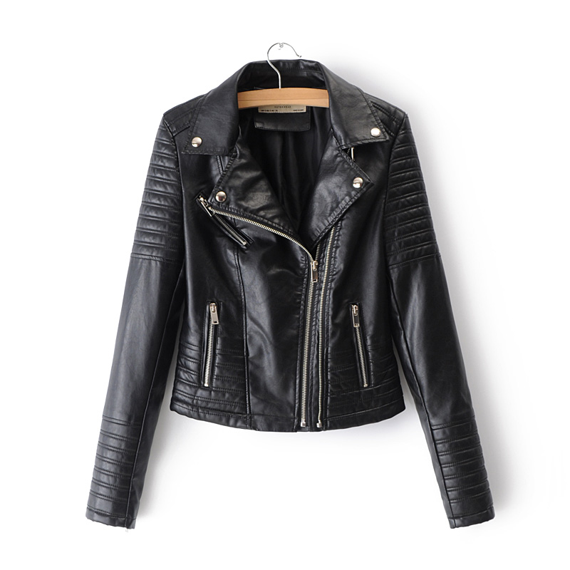 2019 New Fashion Long Sleeve Autumn Winter Biker Streetwear Black Pink Coat Women Smooth Motorcycle Faux Leather Jackets Ladies