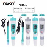 yieryi ph meter ph 20/ph 220/ph 20w/ph 220w ph tester portable 0 14 pH pen type precision instrument with ph buffer power