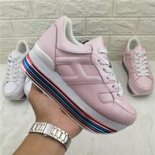 2019 Rainbow High Platform Oxford Women Shoes Lace Up Flats Height Increasing Womens Sneakers Tenis Feminino Woman