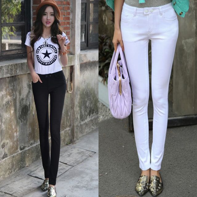 9fb462dde60 New 2014 Spring Summer Fashion Lady slim Legging Casual White Jeans Female  High Waist Pencil Trousers Stretch Cotton Pant
