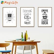 コーヒーは常にアイデア台所の壁アートキャンバス絵画北欧黒と白のポスター家の装飾のための写真非フレーム