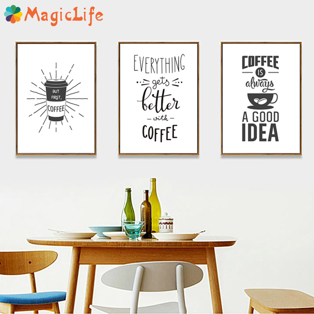 Coffee is Always a Good Idea Kitchen Wall Art Canvas Painting Nordic Black and White Poster for Home Decor Pictures Unframed