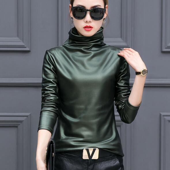 90905b492246d European punk plus size women blouse turtleneck long sleeve tops shirt  ladies velvet stretch camisas PU leather blouses AF657-in Blouses   Shirts  from ...