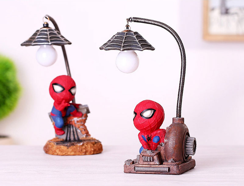 Cartoon Avengers Action Figures Spider Man Night Lamp Resin Children Bedroom LED Night Light for Boy Kids Xmas Creative Gift (5)