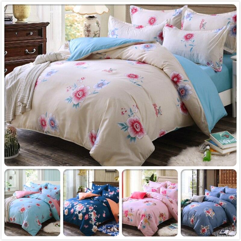 Cotton King Queen Twin Double Size Duvet Cover Flat Sheet Pillowcase 3/4 pcs Bedding Set Kids Bed Linen 1.5m 1.8m 2m 2.2m Floral