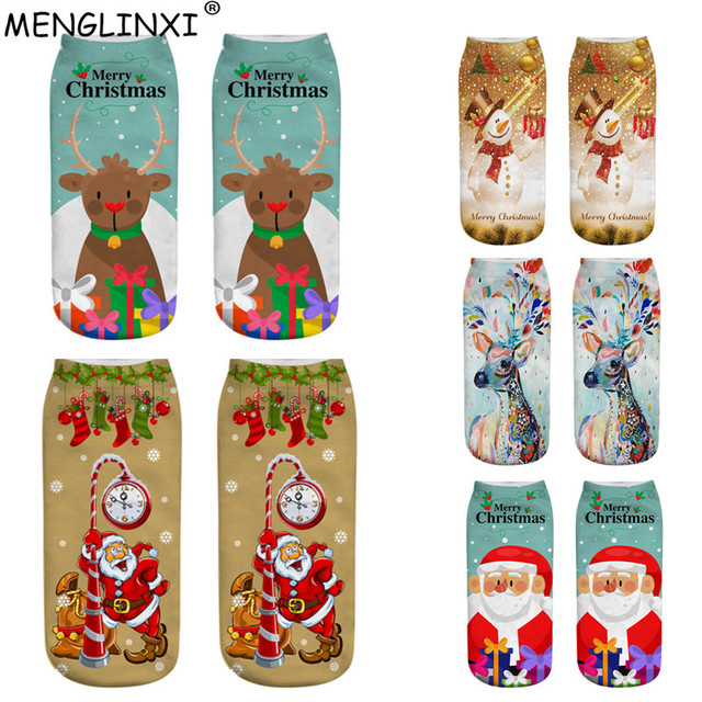 Christmas Socks Women 3D Socks 2019 New Year Gift Kawaii Calcetines Femme Girls Cute Emoji Funny Sock Santa Claus,Elk,Snowman