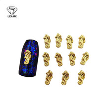 50 PCS 3D Nail Art Decoration Golden Seahorse Shiny Nails Manicure Decorative Charm Alloy Nail Stickers gecko style zinc alloy car decorative stickers golden 2 pcs