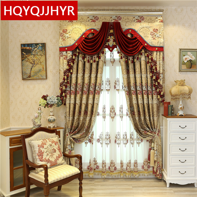 f386ca4bf5bdcf 3D embossed jacquard European luxury full shade curtains for living room  with high-grade embroidery Voile curtain for bedroom
