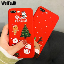Christmas Tree Case For iPhone 6 6s 7 8 Plus Santa Claus Snowman Silicone Phone Cases For iPhone 6 6s 7 8 X Red Soft TPU Cover(China)