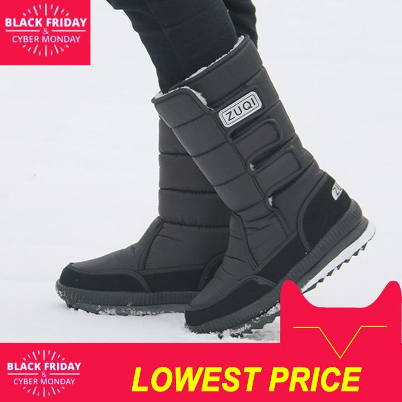 2018 Men Boots platform snow boots for men thick plush waterproof slip resistant winter shoes Plus