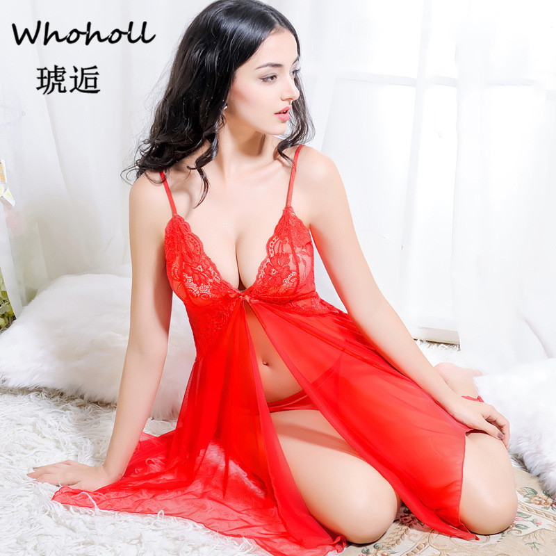 Whoholl Sexy Women   Nightgown     Sleepshirt   Three Quarter V Neck   Nightgowns   Solid Full Lace Transparnet Hollow Out Dress Cardigant