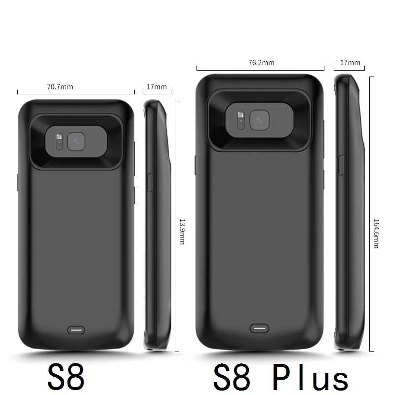A prueba de golpes a prueba del cargador de batería para Samsung Galaxy S9 S8 Plus Nota 9 externo portátil cubierta del cargador de Banco de potencia de carga de caso