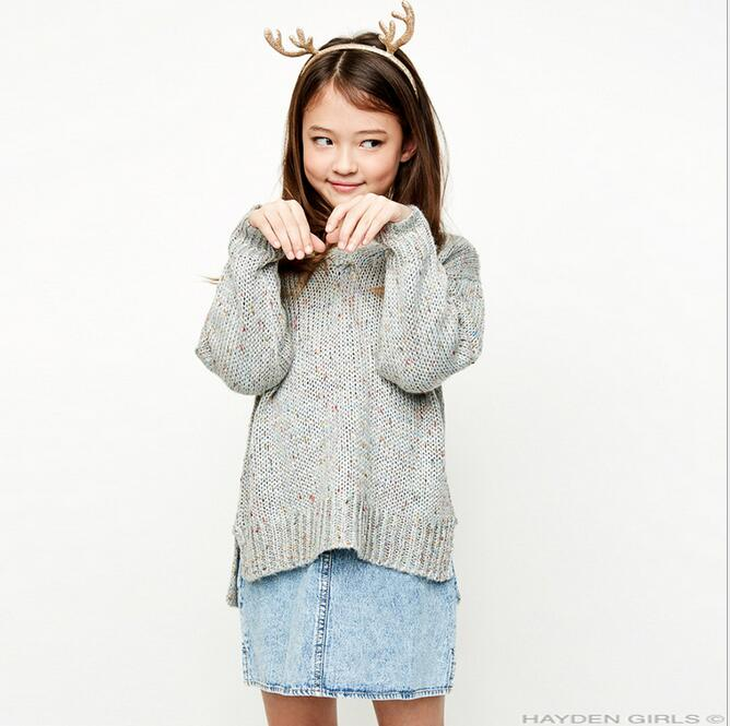 Big Baby Girls Knit Sweaters Teenager Fashion Wool blends Jumper Pullover 2017 Junior Autumn Winter Outwear bebe Xmas clothes