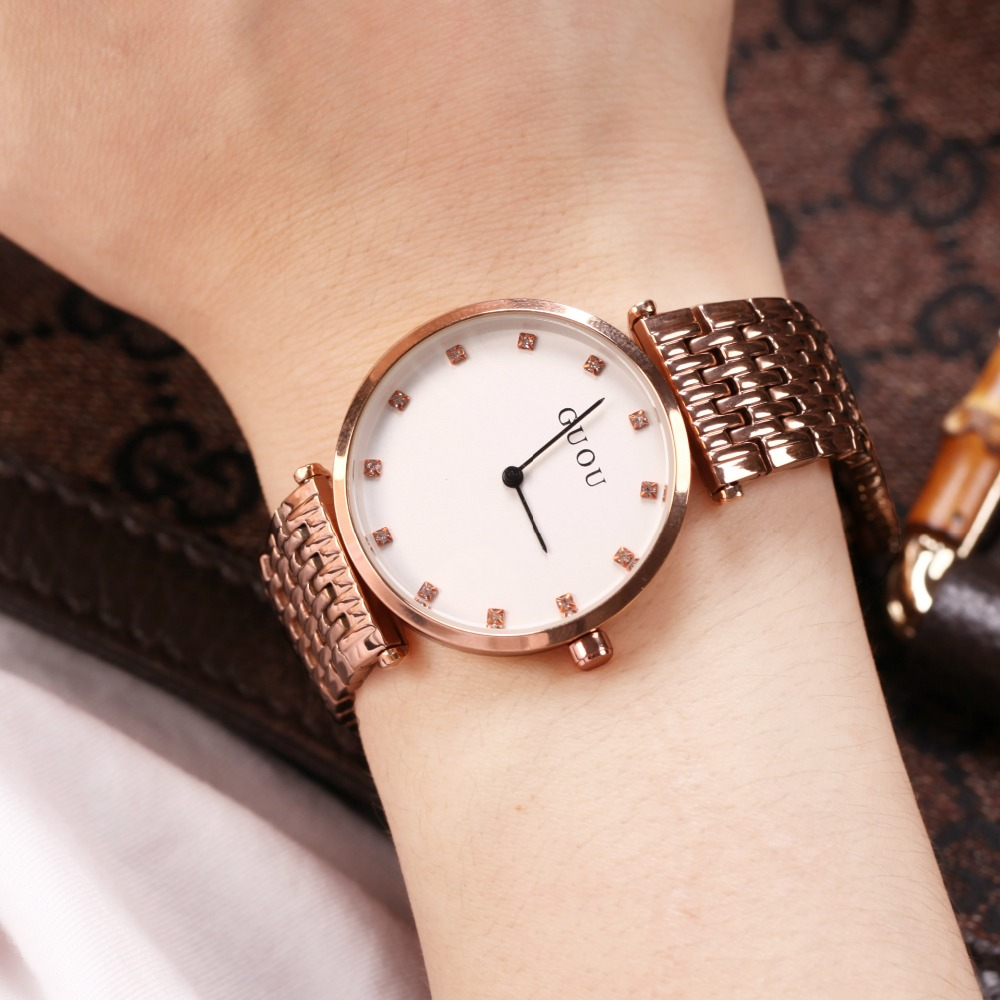 Women Watches Women GUOU Ultra Thin Stainless Steel Quartz Wrist watch Bracelet Rhinestones ladies watch montre Femme clock fashion women watches women crystal stainless steel analog quartz wrist watch bracelet luxury brand female montre femme hotting