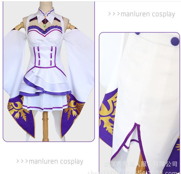 Re:zero Life In A Different World From Zero Female Emilia/satella Cosplay Costume Coat+collar+headwear+skirt+stockings Full Set Home
