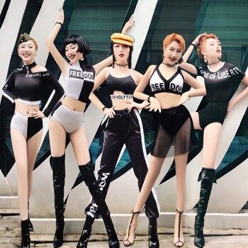 6d8b006c7 Disfraz De baile Hiphop para chica Beyonce disfraz De DJ con lentejuelas  brillantes traje De baile ...