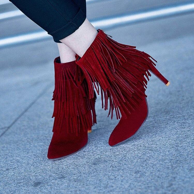 Orteils De Printemps talon Femmes rouge 34 Taille Automne Haute Bottes Apricot 43 Pointu Haute Hot 24 noir Qualité Sexy Big Dl6 Tube Court Chaussures D'hiver nOTIqIw7xv