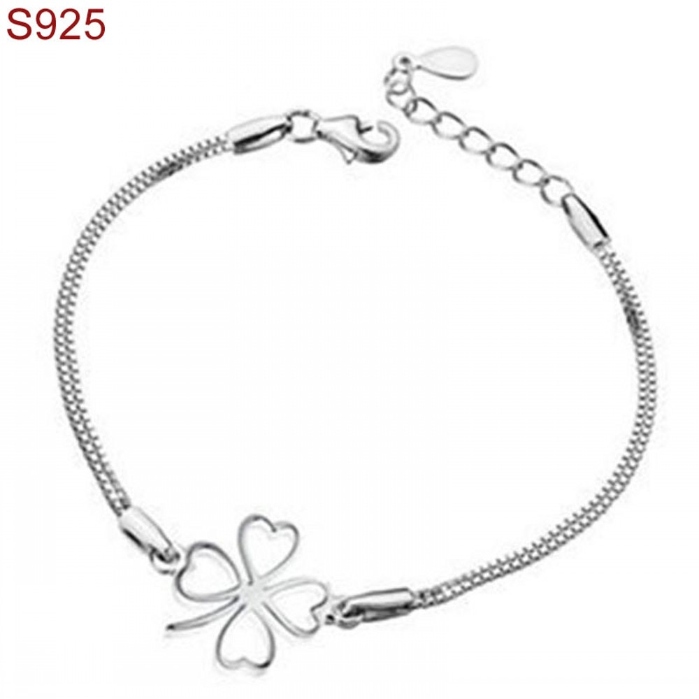 Genuine Real Pure Solid 925 Sterling Silver Bracelet Bangles Fine Jewelry For Women Hand Wristband Clover Fashion Female Charms In Chain Link Bracelets