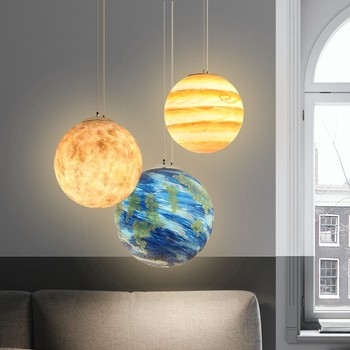 Lámpara colgante de niños LED habitación sala de planeta uPkXiwZTOl