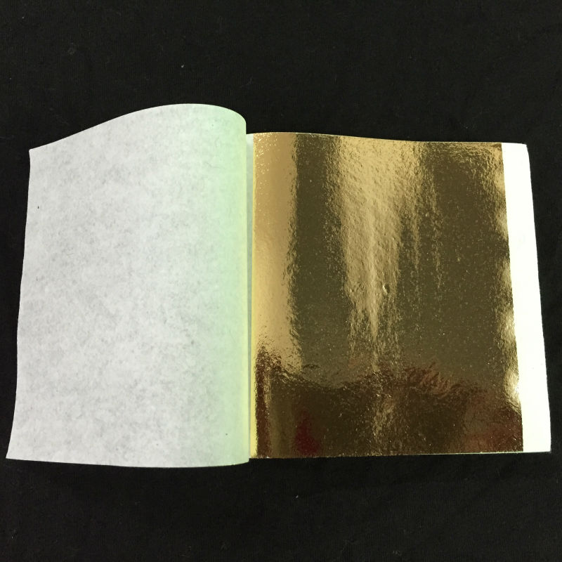 100 Sheets Taiwan Shiny Gold Leaf For Gilding Funiture, Lines, Wall, Crafts, 8x8.5cm