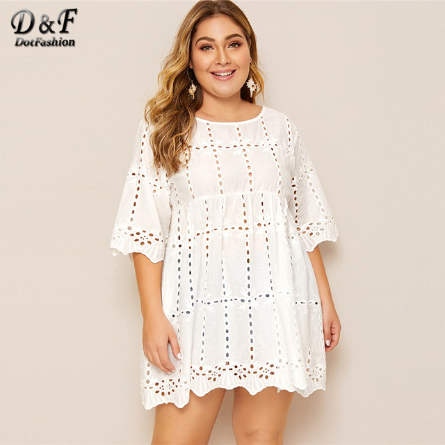 Dotfashion Plus Size White Solid Eyelet Embroidery Babydoll Blouse Women 2019 Boho Summer Half Sleeve Clothing Longline Tops