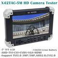 "Frete grátis! X42TAC-5M 7 ""LCD HD-TVI3.0 + AHD2.0 + Câmera CVI + HDMI + VGA + CVBS Vídeo Monitor de Testador"