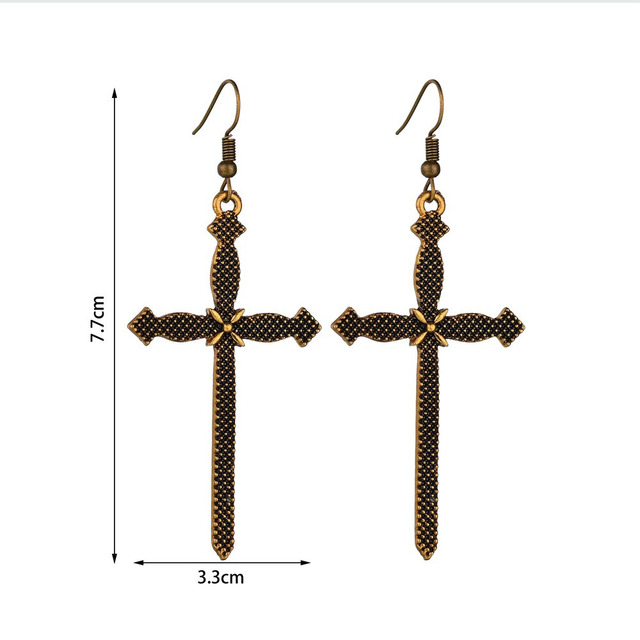 RscvonM Vintage Boho Silver Gold Color Cross Drop Earrings for Women Baroque Bohemian Large Long Earrings.jpg 640x640 - RscvonM Vintage Boho Silver Gold  Color Cross Drop Earrings for Women Baroque Bohemian Large Long Earrings Jewelry Brincos 2018