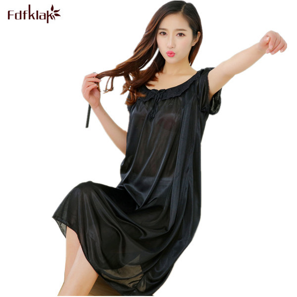 1dc4dfcc26 2017 Summer Sexy Silk Women Nightwear Girls Sleepwear Lingerie Casual Robe  Night Dress Home Clothing Black Sleepwear L XL XXL