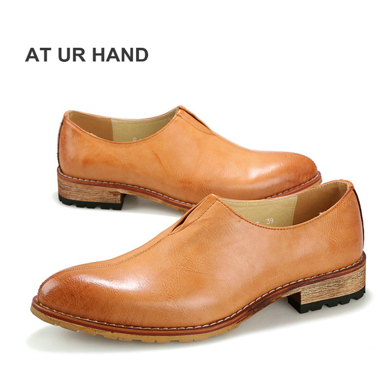 AT UR HAND Men shoes pointed toe Bullock trend oxfords Korean version PU leather breathable male