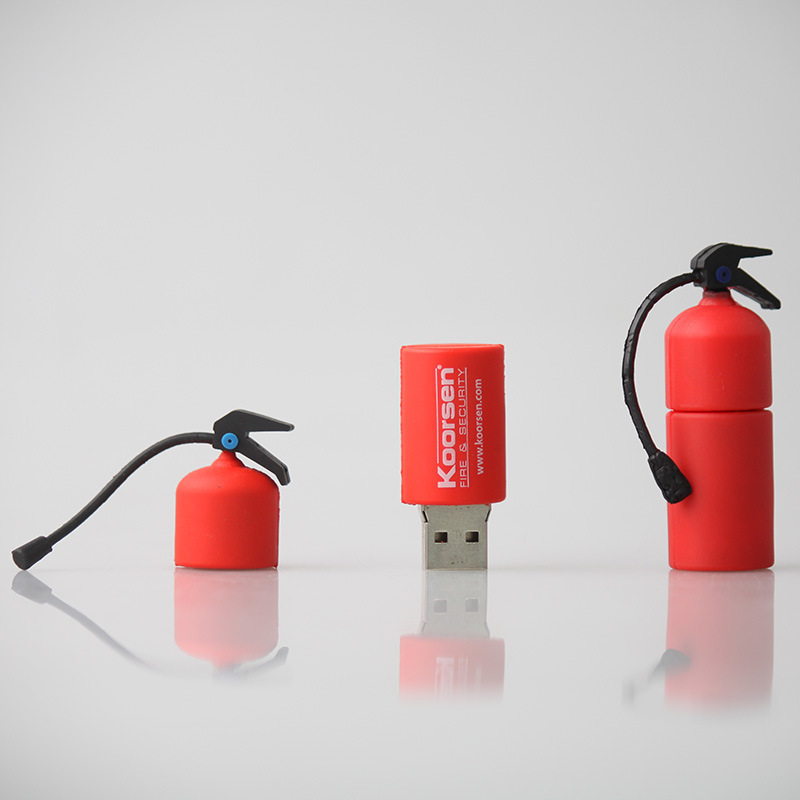 New Cartoon Custom Fire Extinguisher USB 2.0 Memory Flash Pendrive for International Exhibition (LOGO Min Order 50 Pcs)