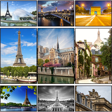 Paris Scenery And Eiffel Tower Embroidery Painting Diamond DIY Full Kit Rhinestone Round Needlework Wall Decor