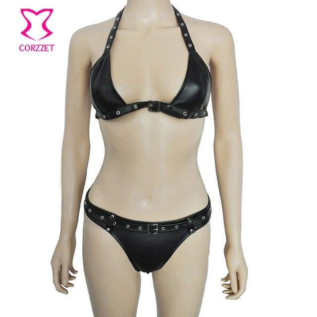 69873fd5c6 Black Faux Leather Bra Top and Briefs Bottom Bikini Style Sexy Hot Lingerie  Set Women Exotic Underwear Club Wear