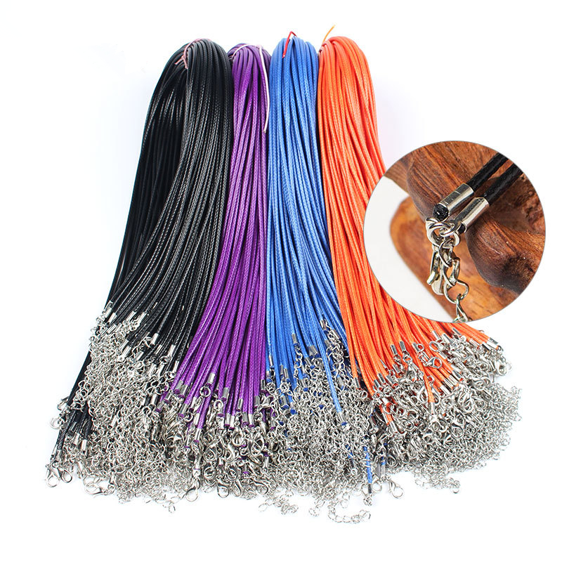 10pcs Rope Chain Women Pendant Necklace for Men Black Gold Wax Rope Necklace DIY Jewelry Making Lanyards Jewelry Accessories