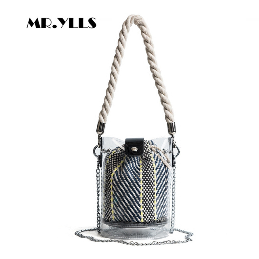 Fashion Women Handbags Transparent Jelly Bags Beach Bag 2018 New Solid Chain Women Bucket Bags Females Handbags Composite Bag zhierna new summer korean chain single shoulder bag big handbag fashion picture bags women jelly crystal transparent beach bag