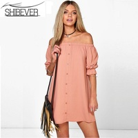 SHIBEVER Women Summer Dresses Casual Party Dress Strapless Sexy Woman Beach Dress Solid Plus Size Dresses 2017 ALD92
