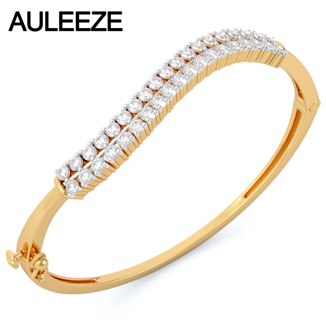 Natural Real Diamond Bangles 14k Solid Yellow Gold 585 For Women Wave Double