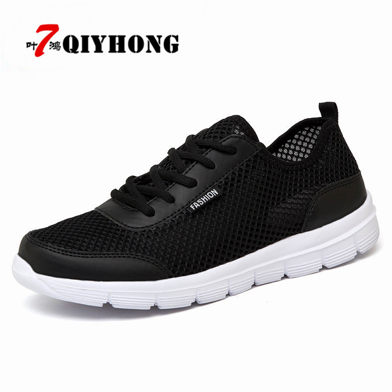 QIYHONG Men Shoes 2018 Summer Fashion Breathable Men Casual Shoes Lace Up High Quality Couple Flat Mesh Shoes Plus Size 35-48 men s casual shoes new summer mesh breathable comfortable men shoes lace up footwears plus size 35 48 1607m