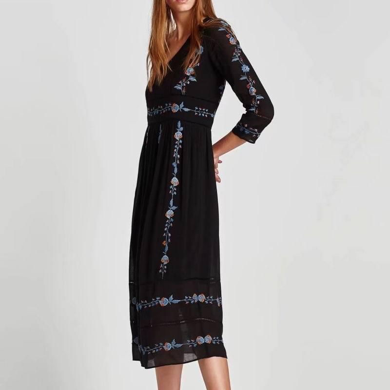 UK7306 femmes TOP qualité européenne col en v za dentelle embroderied cheville longueur une pièce maxi robe offre spéciale femmes vêtements vestidos