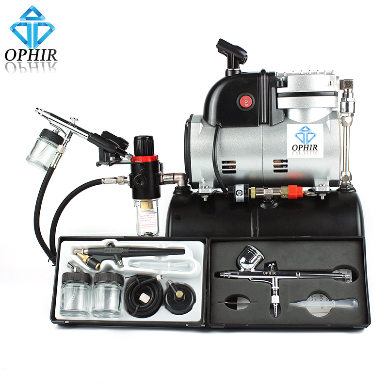 OPHIR (0.2 0.3 0.5 0.8)mm Dual Single & Dual Action Airbrush Kit with Air Tank Compressor for T-shirt Nail Art_AC116+004A+071074 ophir 0 3mm airbrush kit with mini air compressor single action airbrush gun for cake decorating nail art cosmetics ac002 ac007