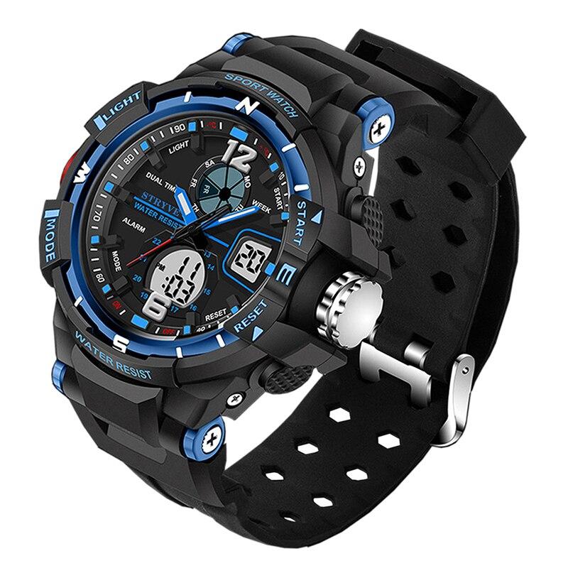 Stryve 8012 Luxury Brand Sports Men Watch Waterproof Quartz Led Electronic Men's Military Watch Digital Clock erkek kol saati